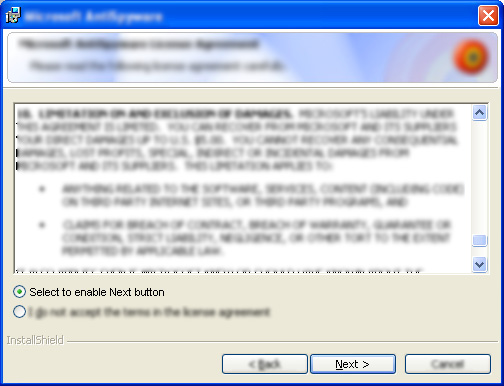 A typical EULA screen from an installer