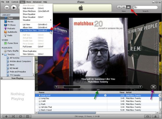 How to show Cover Flow in iTunes