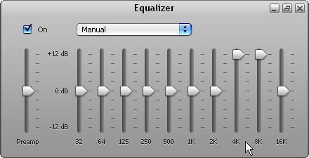 Manual settings in the iTunes Equalizer