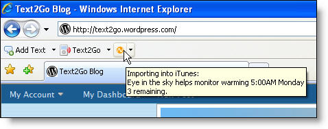 Text2Go displays the number of remaining documents in its text to speech processing queue