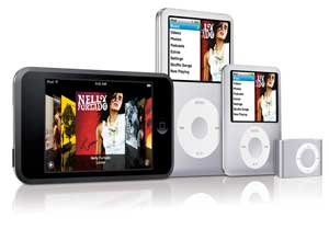 The iPod Family (from left to right) - touch, classic, nano, shuffle