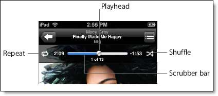 iPod touch song controls