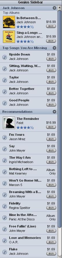 iTunes 8 Genius sidebar