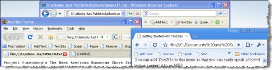 Text2Go 3.5 supports all major browsers