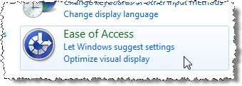 Ease of Access Category in the Control Panel