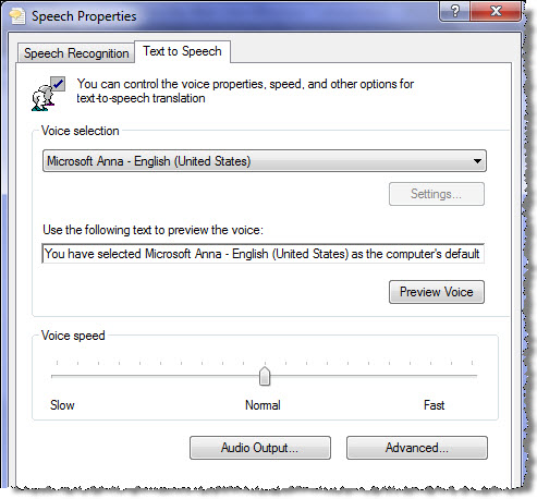 Text to Speech options in Windows 7