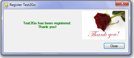 Thank you message displayed on registration