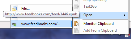 Use the Text2Go Open URL command to download the ebook