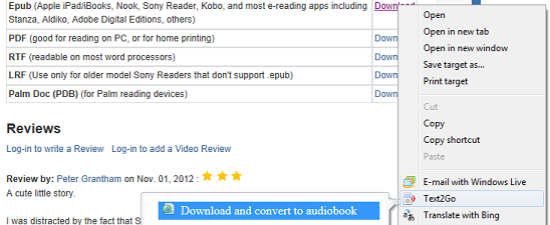 Download and convert an ebook to an audiobook with Text2Go