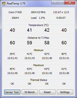 RealTemp CPU Core Temperatures